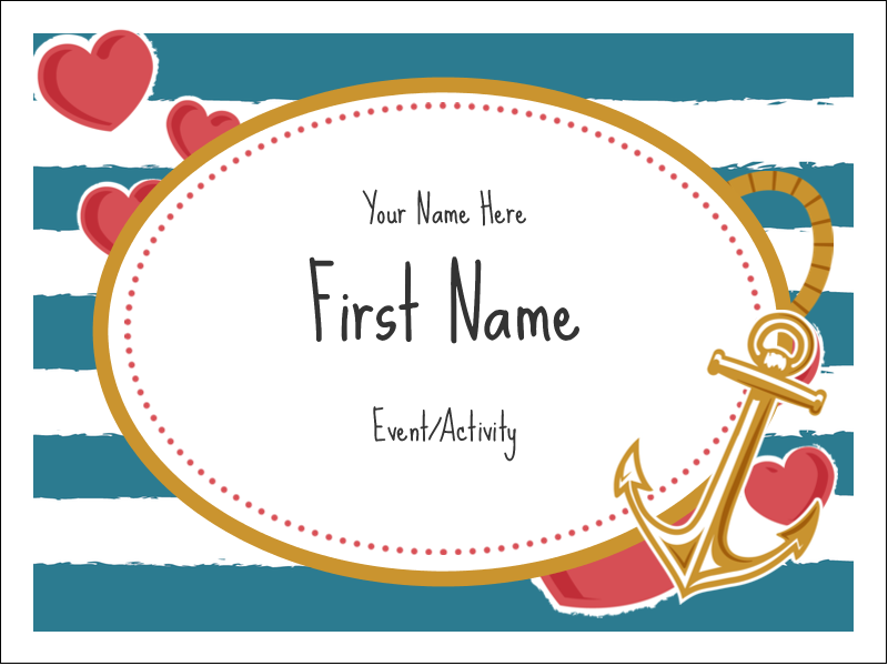 "3"" x 4"" Name Tags - Valentine Anchor"
