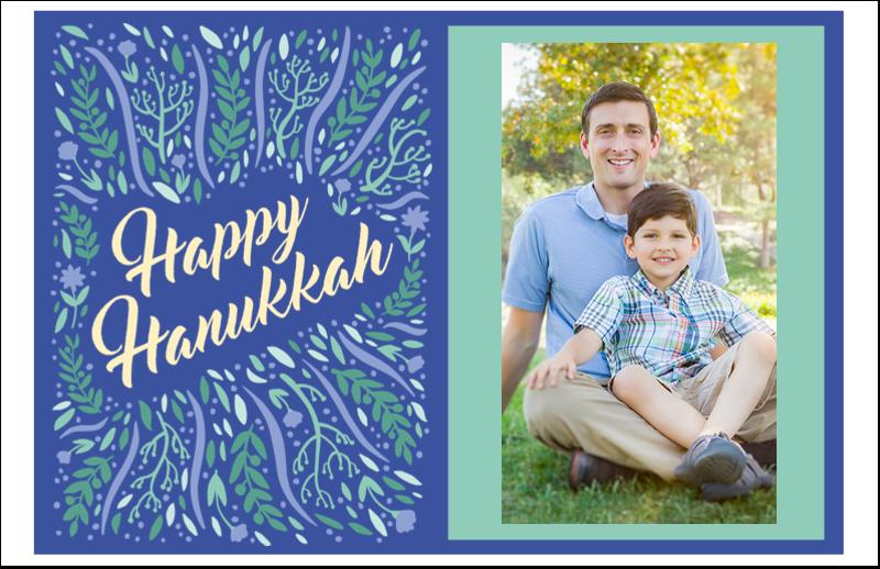 "5½"" x 8½"" Greeting Card - Hanukkah Floral"