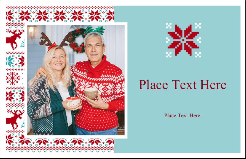 "5½"" x 8½"" Greeting Card - Poinsettia Sweater"