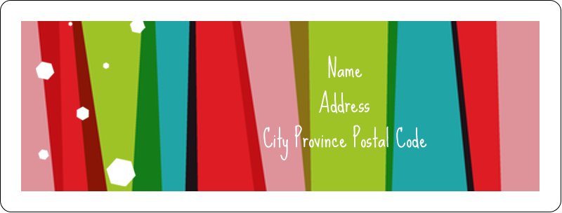 "1"" x 2⅝"" Address Label - Christmas Retro Stripe"