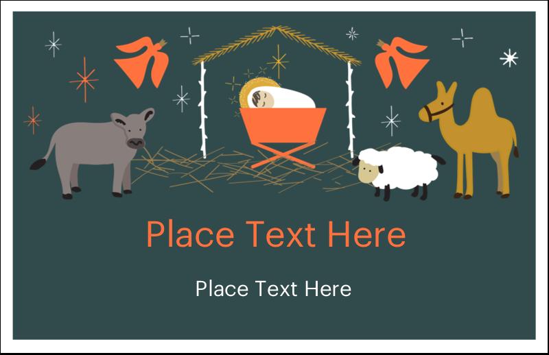 "5½"" x 8½"" Greeting Card - Nativity Scene Animals"