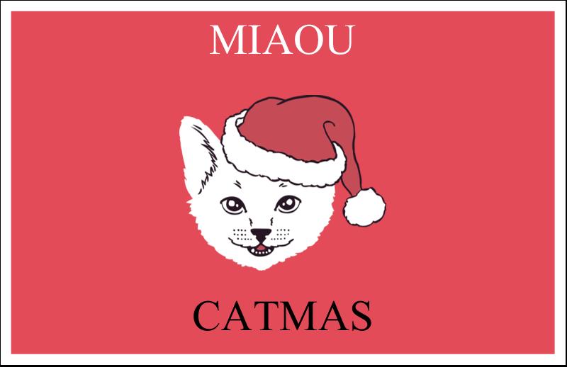 """5½"""" x 8½"""" Cartes de souhaits pliées en deux - Chat de Noël"""