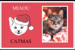 Chat de Noël Cartes de souhaits pliées en deux - gabarit prédéfini. <br/>Utilisez notre logiciel Avery Design & Print Online pour personnaliser facilement la conception.