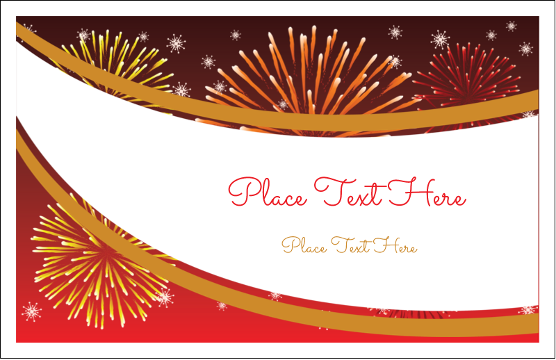 "5½"" x 8½"" Greeting Card - New Year Red Fireworks"
