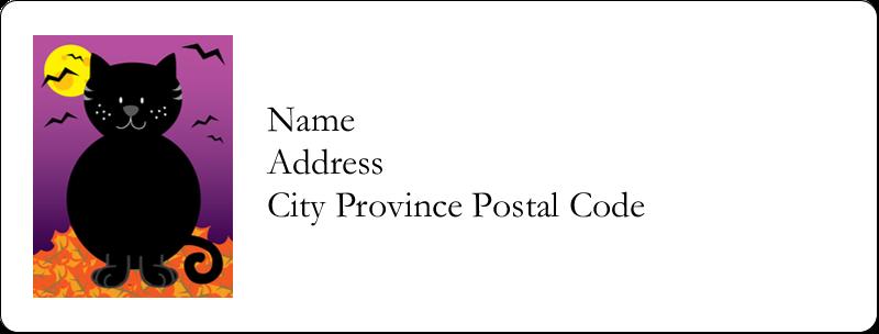 "1"" x 2⅝"" Address Label - Black Cat Halloween"