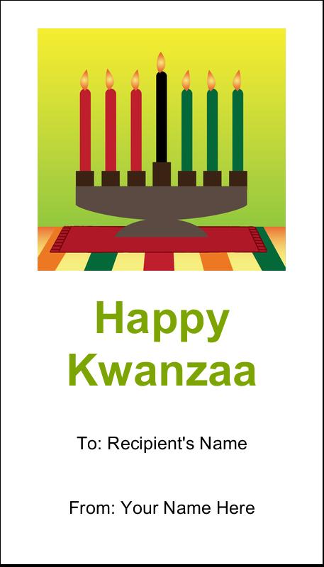 """3½"""" x 2"""" Business Card - Kwanzaa Green Glow"""