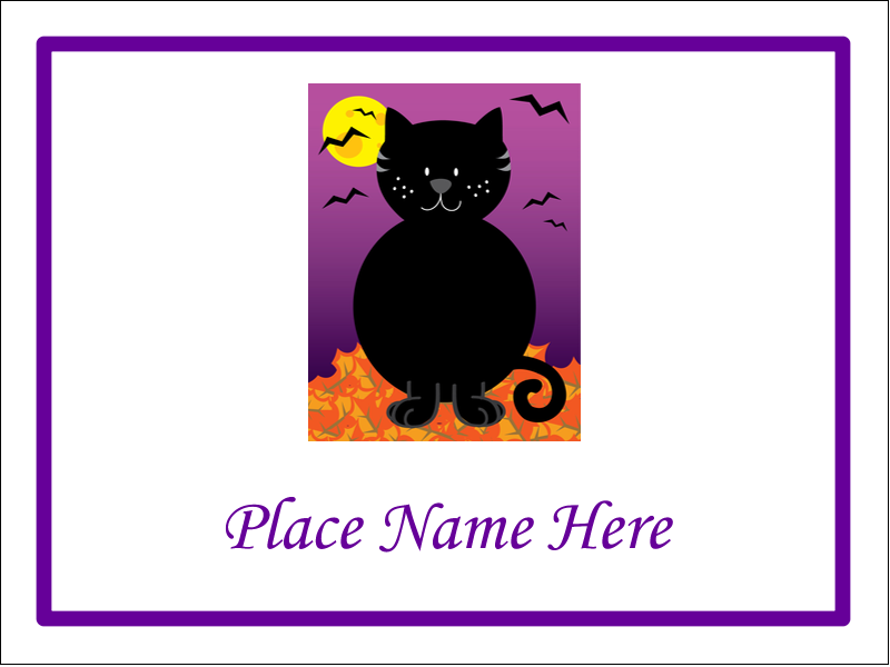 "3"" x 4"" Name Tags - Black Cat Halloween"