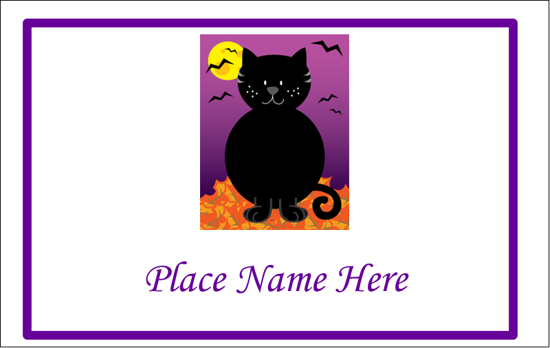 2¼ x 3½ Name Tags - Black Cat Halloween