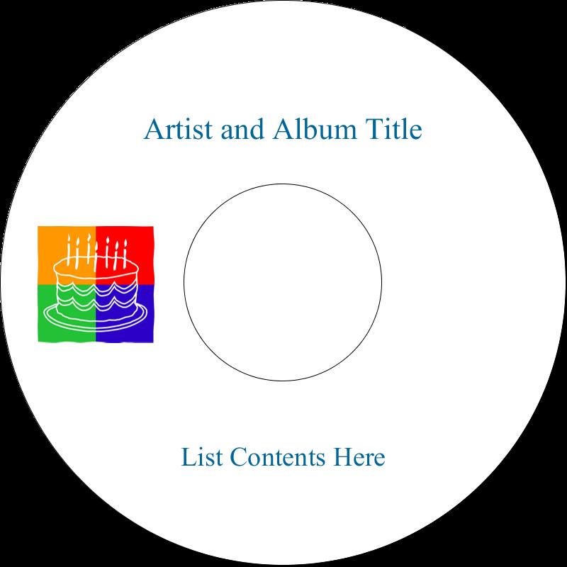 """4.65"""" CD-DVD Label - Birthday Cake"""