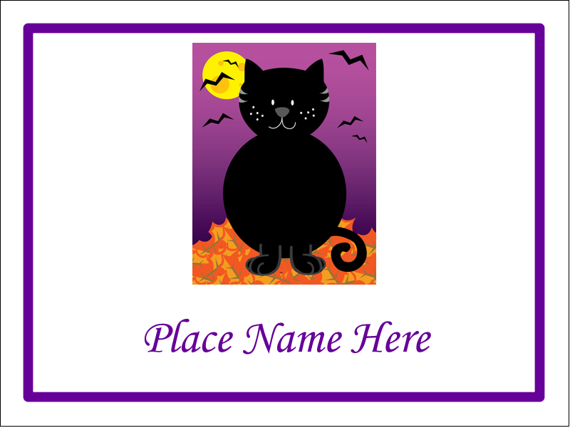 "4"" x 3"" Name Tags - Black Cat Halloween"
