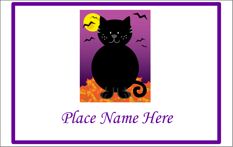 "2¼"" x 3½"" Name Tags - Black Cat Halloween"
