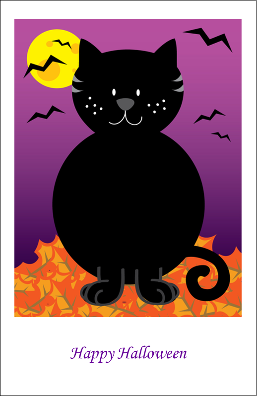 "5"" x 8½"" Half Fold Card - Black Cat Halloween"