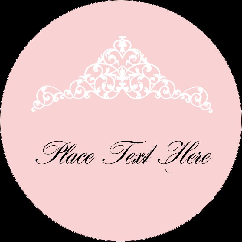"""1½"""" Round Label - Pink Tiara"""