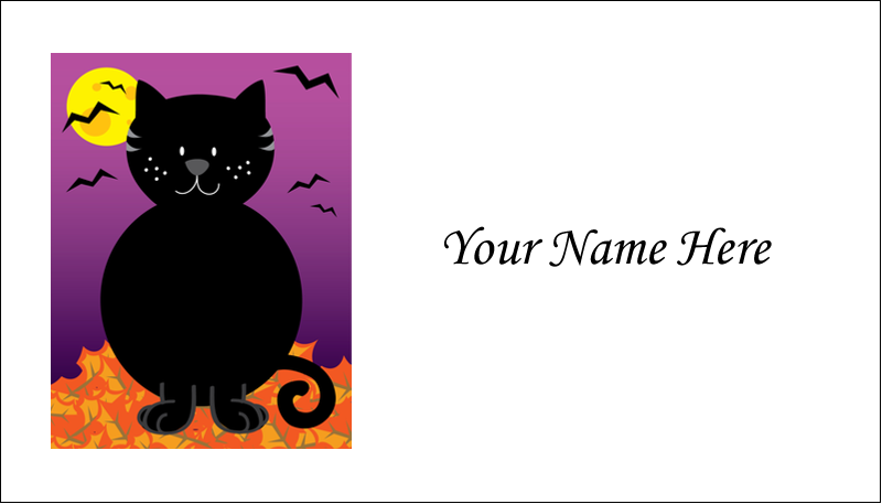 "2"" x 3½"" Business Card - Black Cat Halloween"
