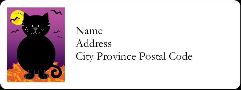"⅔"" x 1¾"" Address Label - Black Cat Halloween"