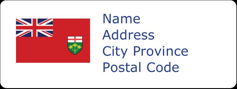 "⅔"" x 1¾"" Address Label - Ontario Flag"