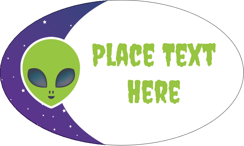 """1½"""" x 2½"""" Oval Glossy Label - Alien Party"""
