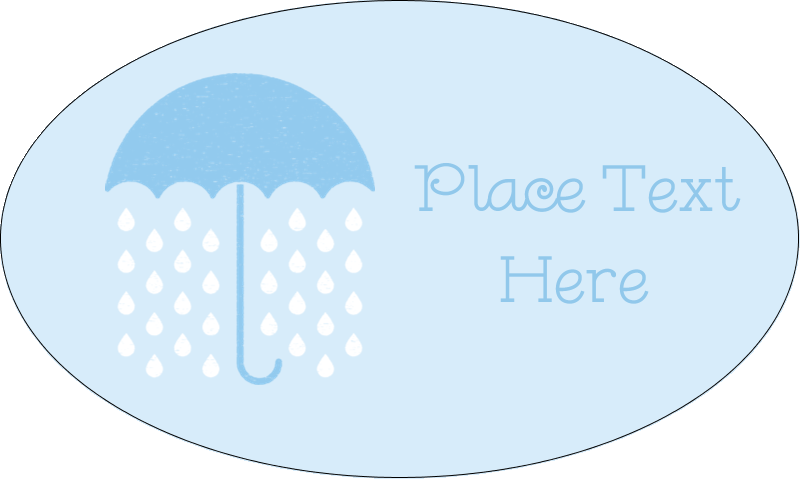 "1½"" x 2½"" Oval Glossy Label - Baby Umbrella"