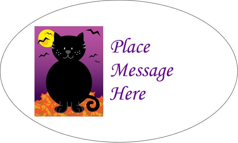 "1½"" x 2½"" Oval Glossy Label - Black Cat Halloween"