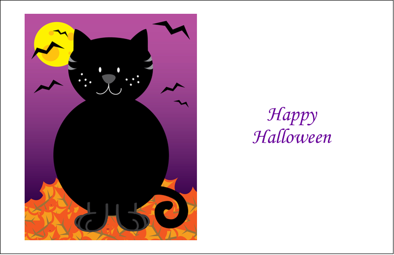 "5½"" x 8½"" Greeting Card - Black Cat Halloween"