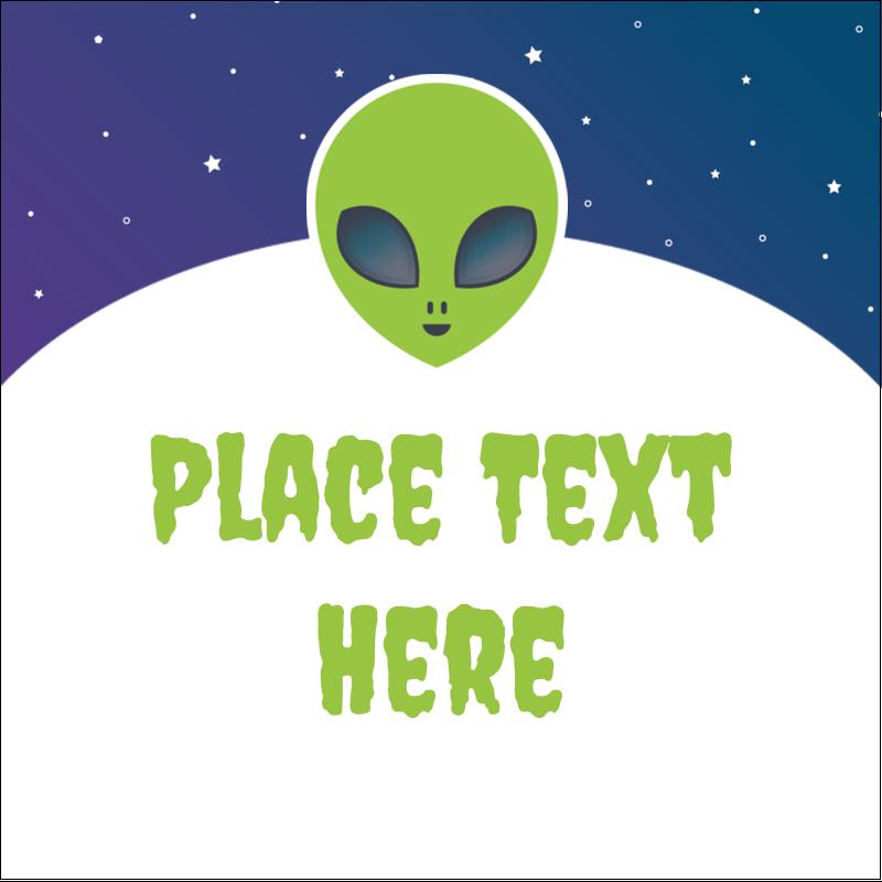 """2"""" x 2"""" Square Label - Alien Party"""