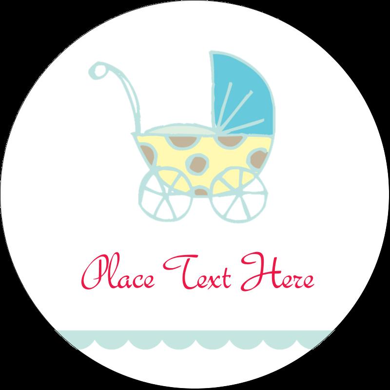 """2½"""" Round Label - Baby Stroller Blue"""