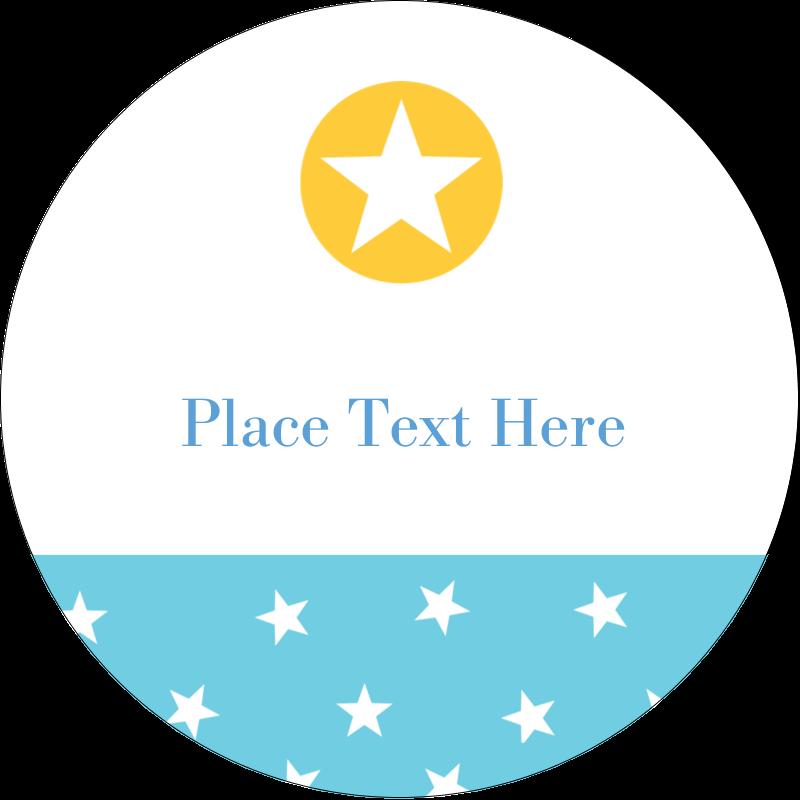 "2½"" Round Label - Blue Yellow Stars"