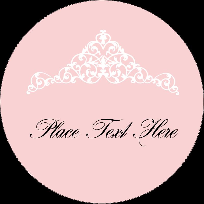 """2"""" Round Label - Pink Tiara"""
