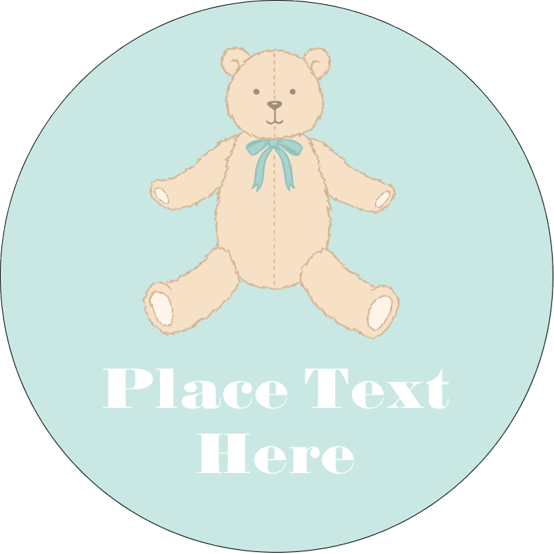 "2"" Round Label - Baby Teddy Bear"