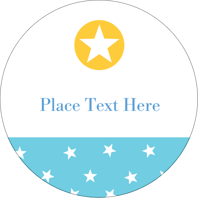 "2"" Round Label - Blue Yellow Stars"