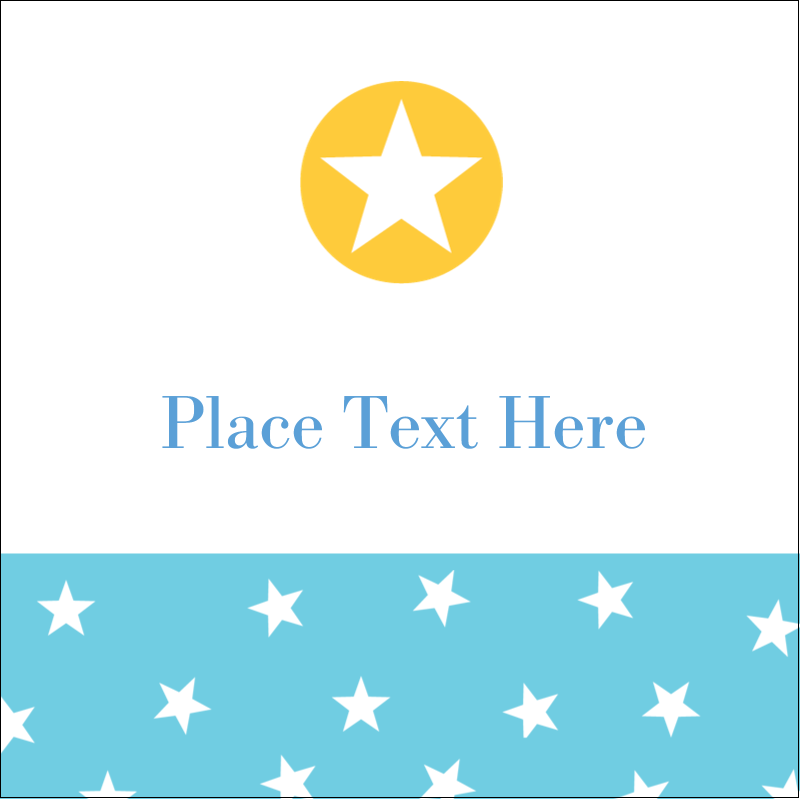 "2"" x 2"" Sqaure Label - Blue Yellow Stars"
