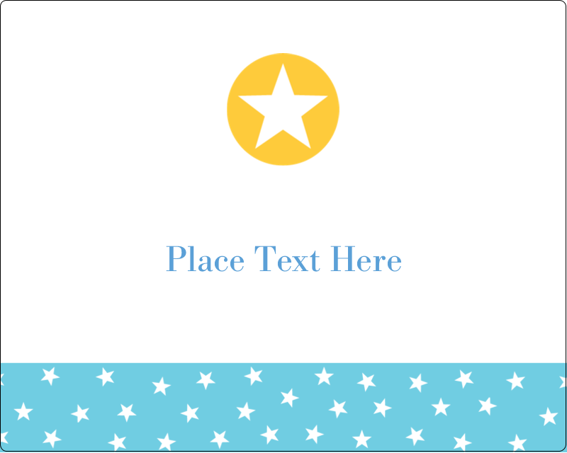"3"" x 3¾"" Rectangular Label - Blue Yellow Stars"