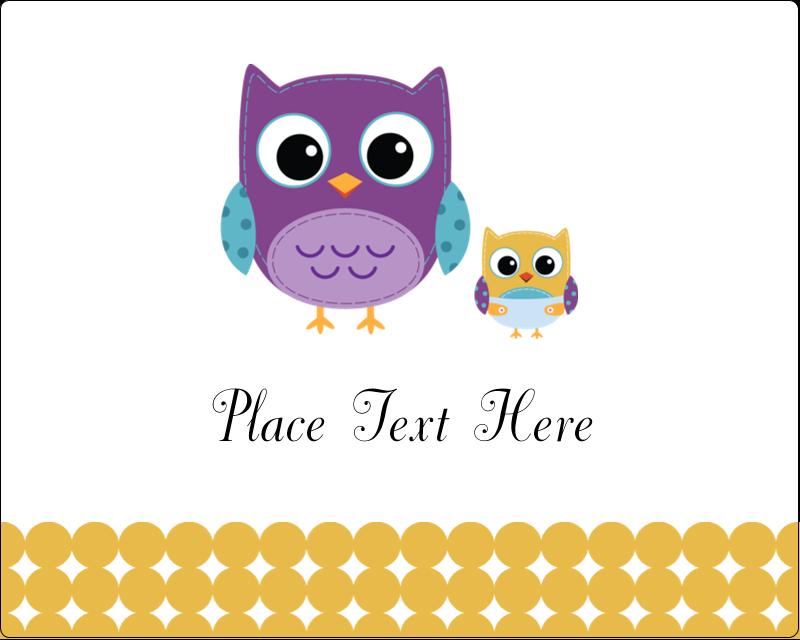 "3"" x 3¾"" Rectangular Label - Baby Owl"