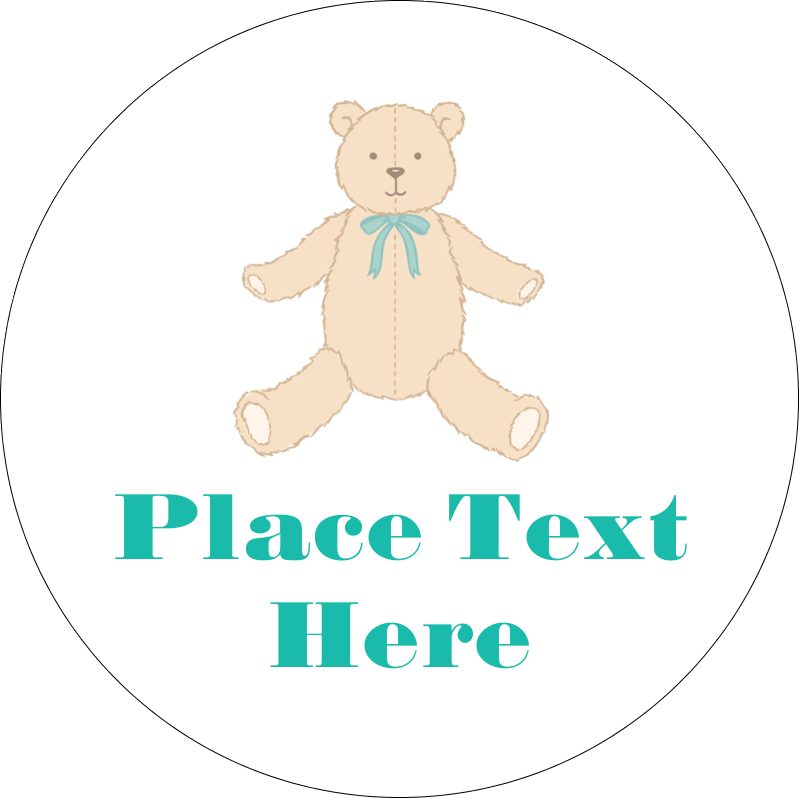 """2"""" Embossed Round Label - Baby Teddy Bear"""