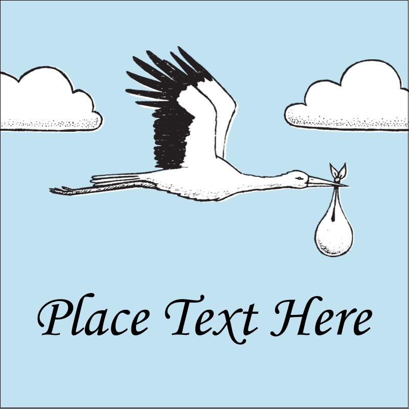 "1½"" x 1½"" Square Label - Baby Vintage Stork"