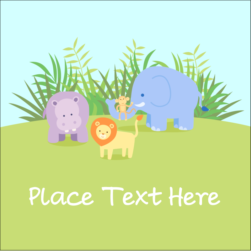 """1½"""" x 1½"""" Square Label - Baby Safari"""