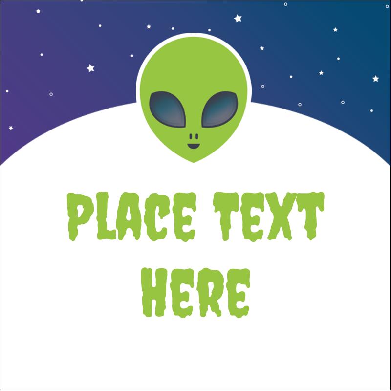 """1½"""" x 1½"""" Square Label - Alien Party"""