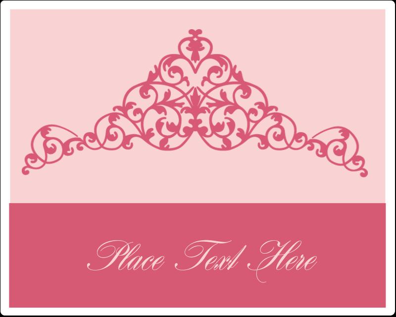 """3"""" x 3¾"""" Rectangular Label - Pink Tiara"""