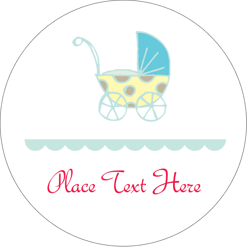"2"" Embossed Round Label - Baby Stroller Blue"