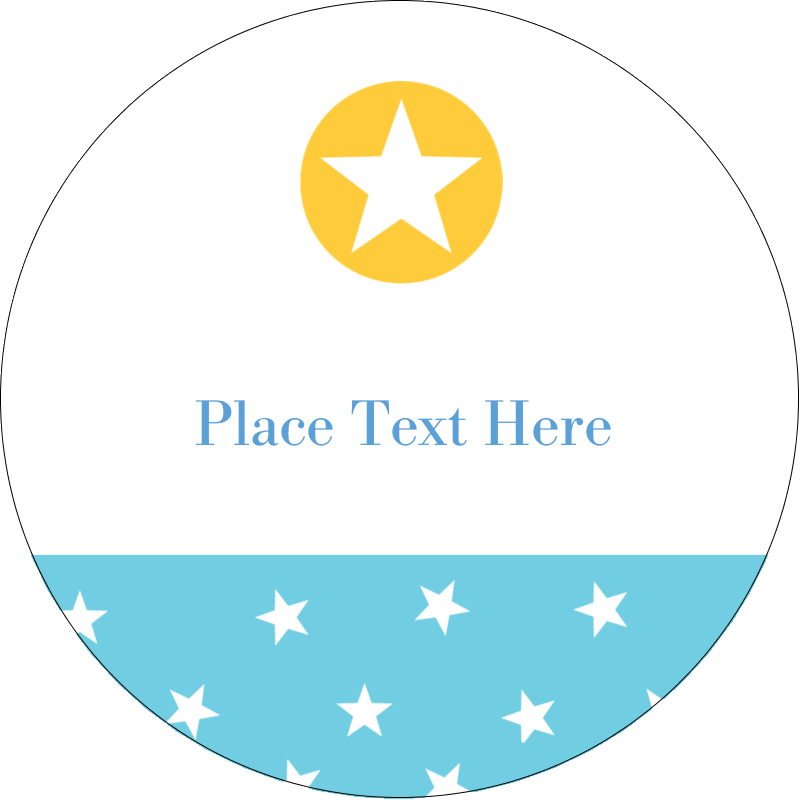 "2"" Embossed Round Label - Blue Yellow Stars"