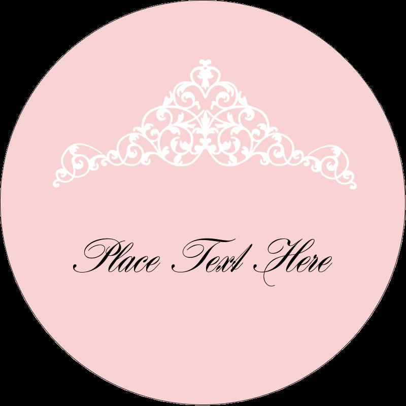 """2½"""" Round Label - Pink Tiara"""