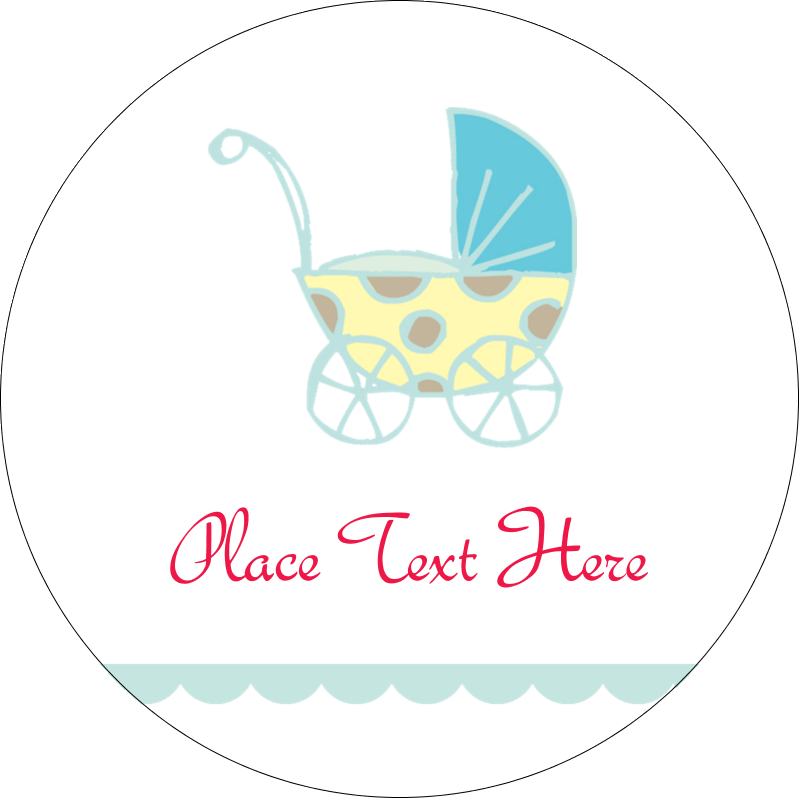 "2½"" Round Label - Baby Stroller Blue"