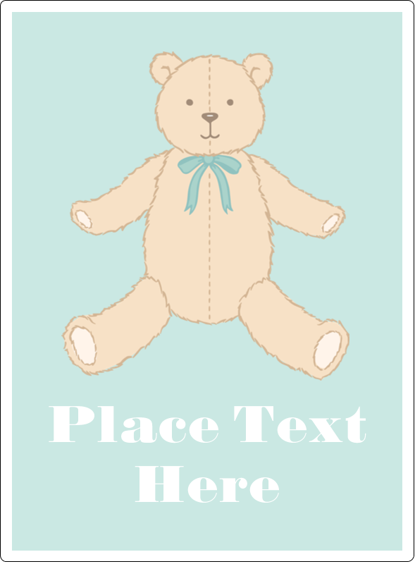 "4¾"" x 3½"" Rectangular Label - Baby Teddy Bear"