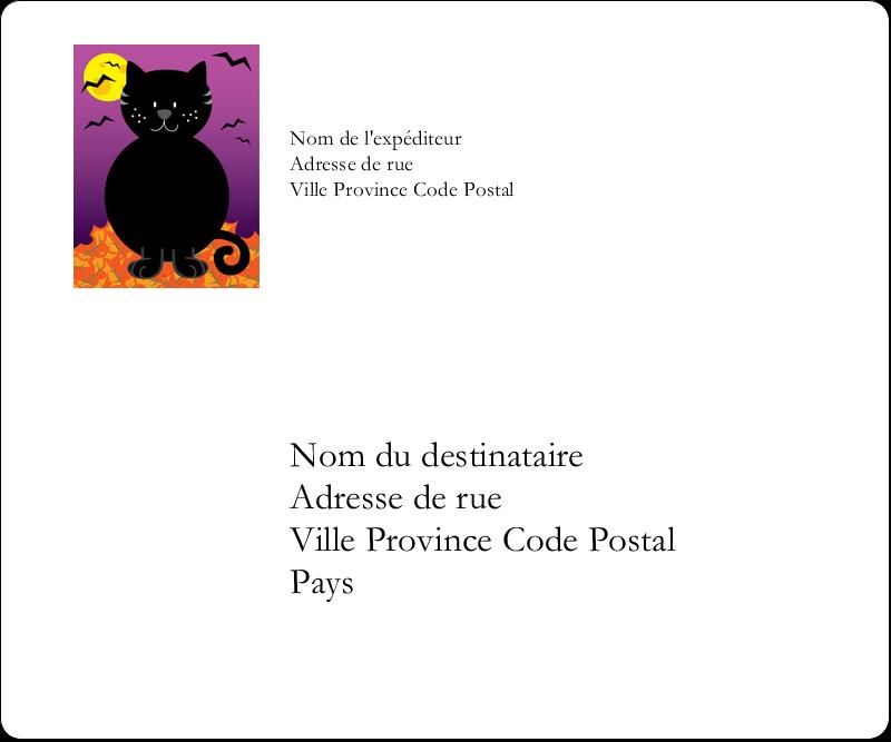 """3⅓"""" x 4"""" Étiquettes d'expédition - Chatte noire d'Halloween"""
