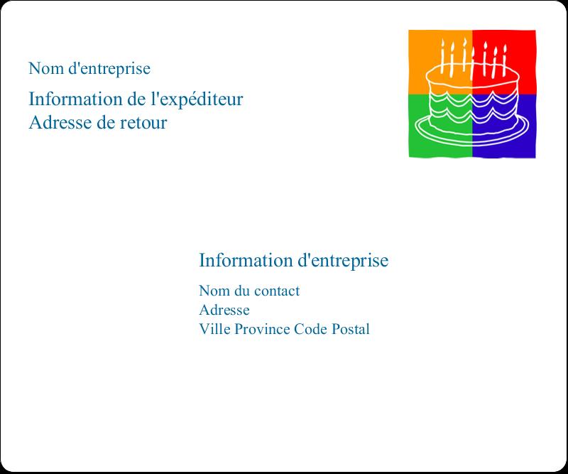 """3⅓"""" x 4"""" Étiquettes d'expédition - Gâteau d'anniversaire"""