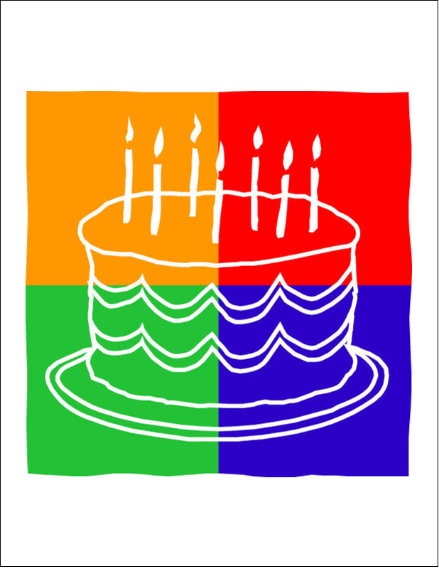 """8½"""" x 11"""" Cartes Et Articles D'Artisanat Imprimables - Gâteau d'anniversaire"""