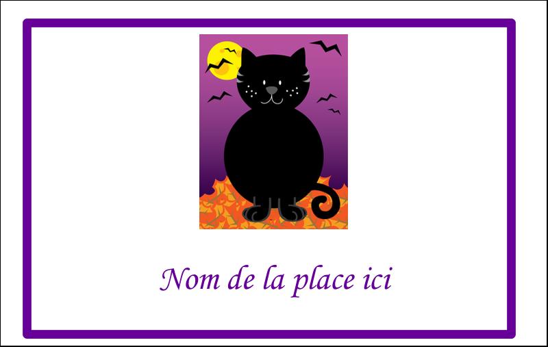 2¼ x 3½ Étiquettes badges autocollants - Chatte noire d'Halloween