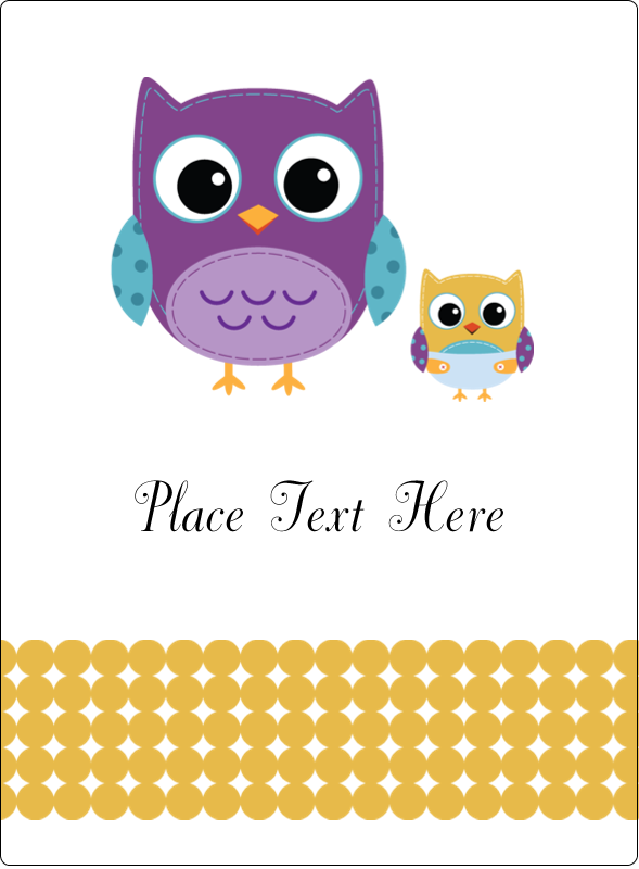 "4¾"" x 3½"" Rectangular Label - Baby Owl"