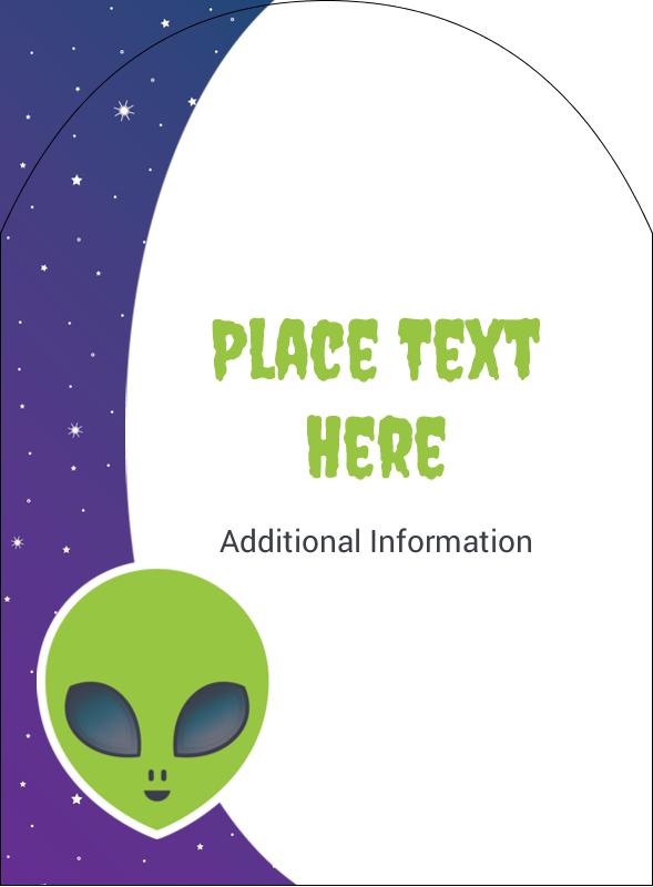 """4¾"""" x 3½"""" Arched Label - Alien Party"""