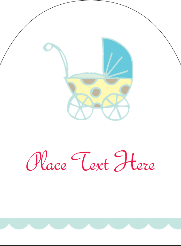 "4¾"" x 3½"" Arched Label - Baby Stroller Blue"
